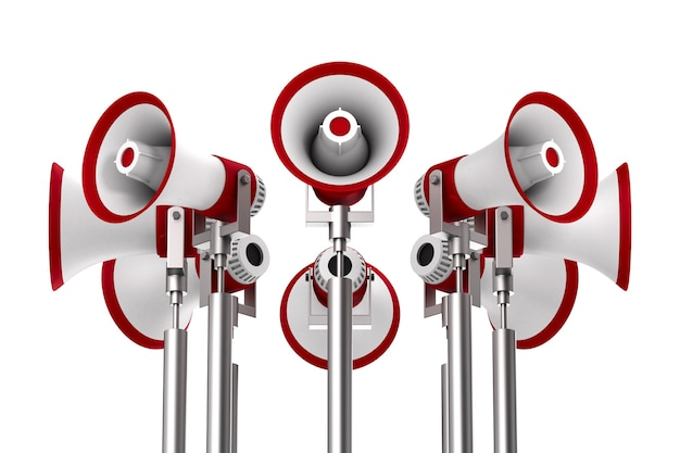 Set megaphones on white space. isolated 3d illustration