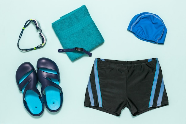 A set of men's swimming accessories