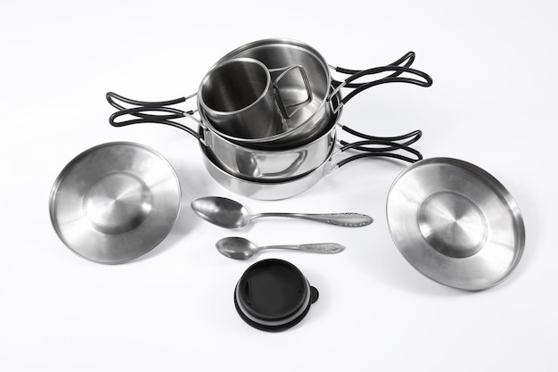 The set of metal utensils for tourism