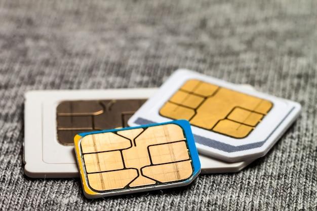 Set of mini, micro and nano sim card.