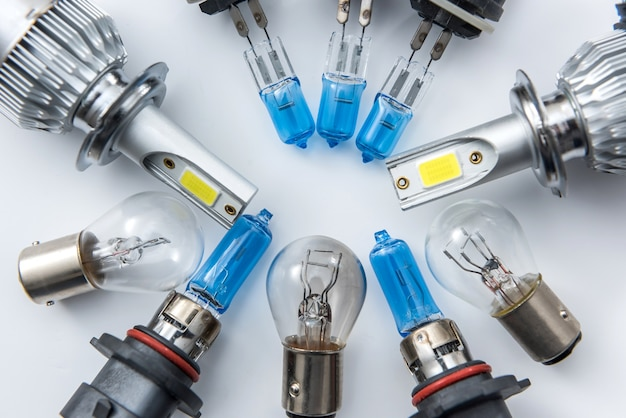 Set of modern glass car lamp for to replace defective bulbs in the headlamp in your auto. part of automotive electric lightbulb