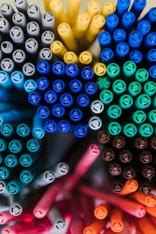 Set of multicolored pens