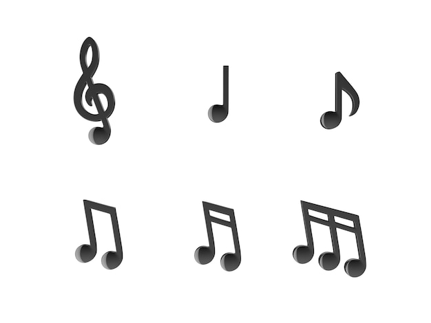 Set of music notes.3d rendering