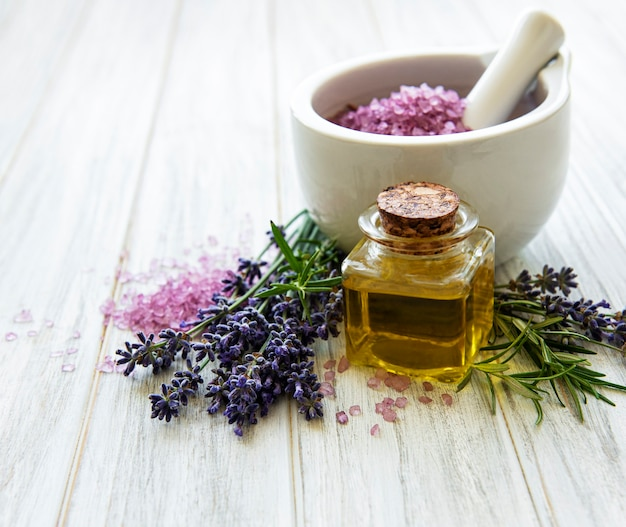 Set of natural organic spa cosmetic with lavender flowers