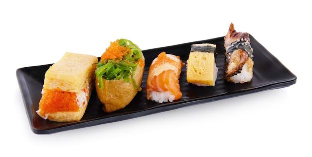 Set of nigiri sushi isolated on white background