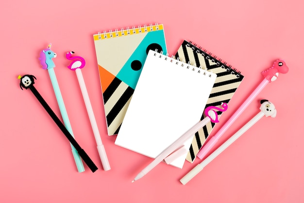 Set of notebooks for notes and pens on pink background