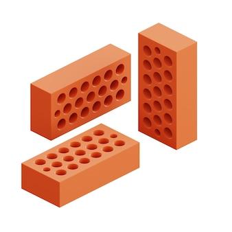3개의 벽돌 세트가 다른 위치에 표시됩니다. 아이소메트릭 3d 렌더링 벽돌 아이콘 그림 흰색 배경에 고립입니다. 산업 요소입니다. 건설.