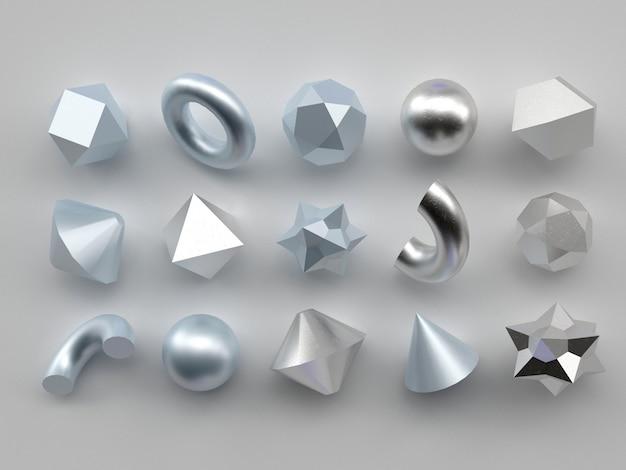 白い背景の3 dレンダリングの現実的なプリミティブのセット