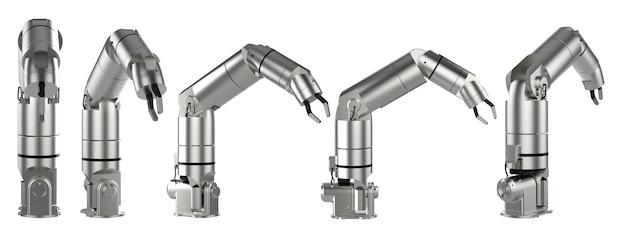 흰색으로 격리된 5개의 각도로 3d 렌더링 로봇 팔 또는 로봇 손 세트
