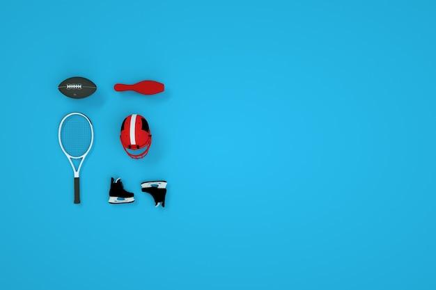 3dスポーツアクセサリーのセット。青い背景のボール、テニスラケット、ホッケーヘルメット、スケートの等尺性モデル。コンピューターグラフィックス
