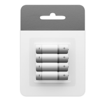Набор батареек типа аа на белом фоне. поместите батарейки в картонную коробку. 3d визуализации.