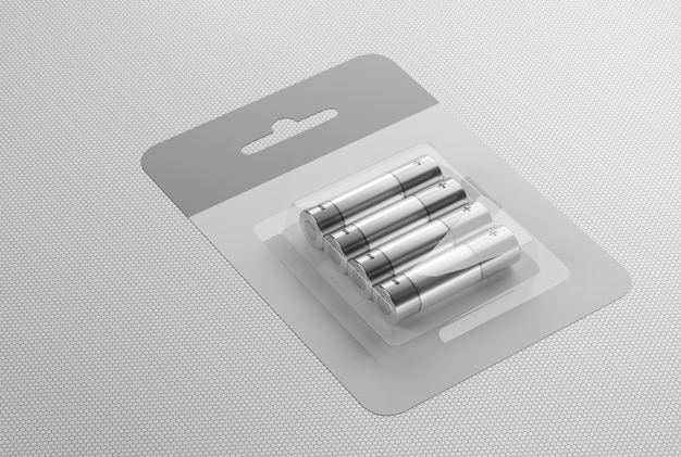 Набор батареек типа аа на белом фоне. поместите батарейки в картонную коробку на столе. 3d визуализации.