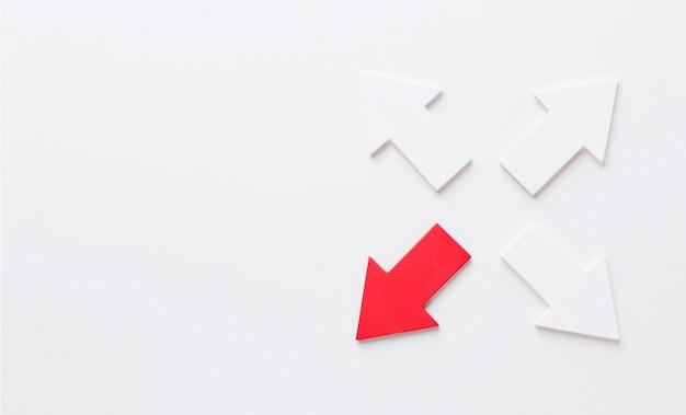 4つの方向を指す矢印のセット