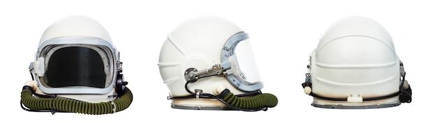 흰색 배경에 고립 된 우주 비행사 헬멧의 집합입니다.
