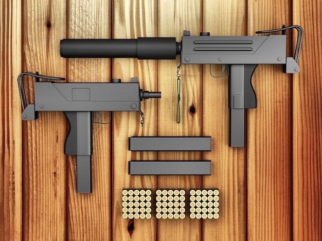 付属の自動9mm機関銃のセット