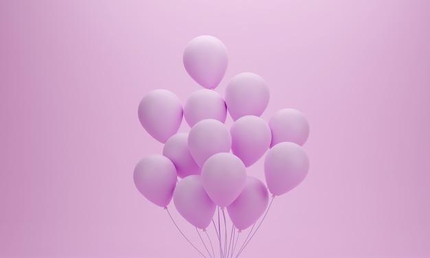 생일, 파티, 승진 또는 특별한 순간을위한 핑크 파스텔 배경에 풍선 세트. 3d 렌더링