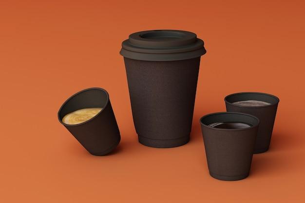 Набор черных кофейных чашек на фоне апельсина. 3d рендеринг