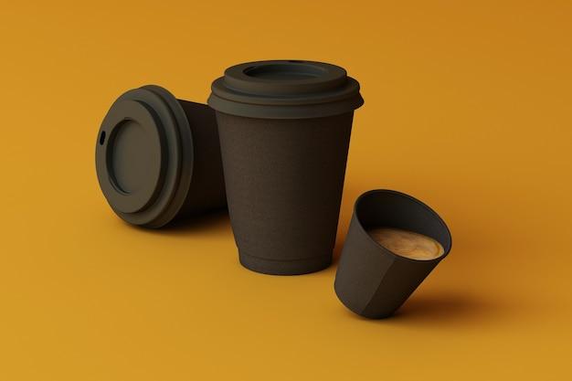 黄色の背景に黒いコーヒーカップのセット。 3dレンダリング