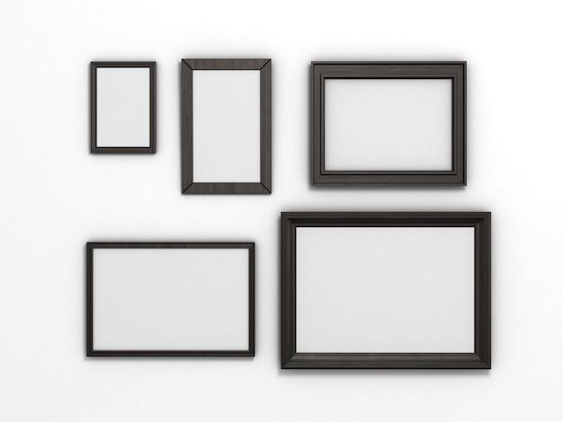 白い背景の上の異なるサイズの黒いフレームのセット