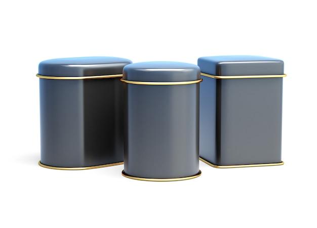 白で隔離される黒いブリキ缶のセット