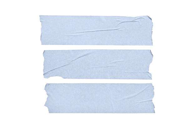 白い背景で隔離の青い空白のテープステッカーのセットです。