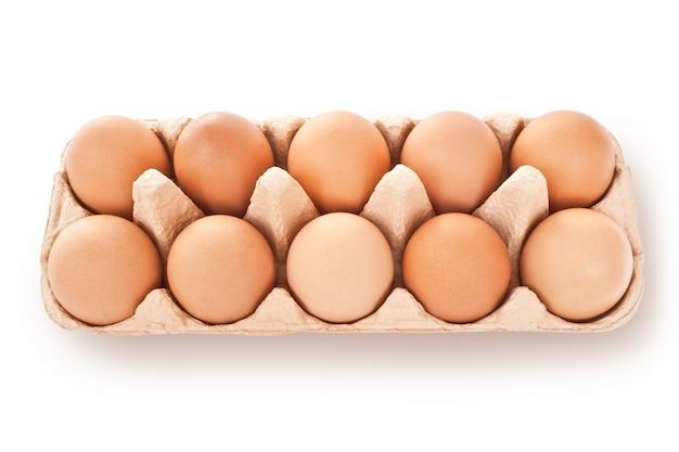 白い背景で隔離の茶色の卵のセット