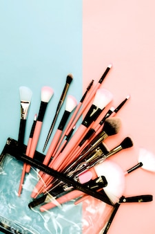 Set of brushes in makeup bag