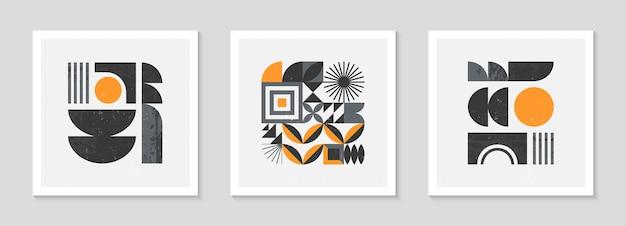 Набор абстрактных фонов геометрический узор баухаус. модный минималистичный геометрический дизайн с простыми формами и элементами. современные художественные векторные иллюстрации середины века. скандинавский орнамент.