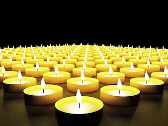 Set of candles in the dark, 3D rendering