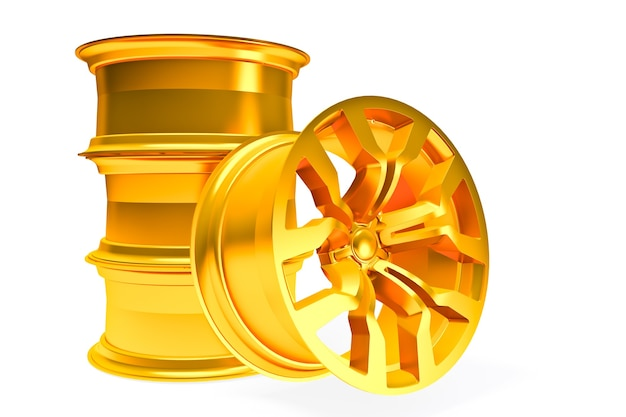 Набор автомобильных золотых колес, изолированные на белом - 3d визуализация