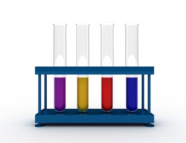 화학 기구 세트입니다. 3d 렌더링 된 그림