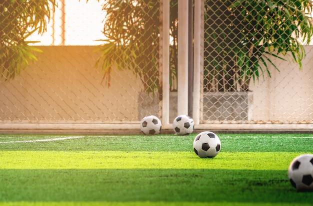 Комплект детей тренируя футбольные мячи на поле тренировки футбола без людей.