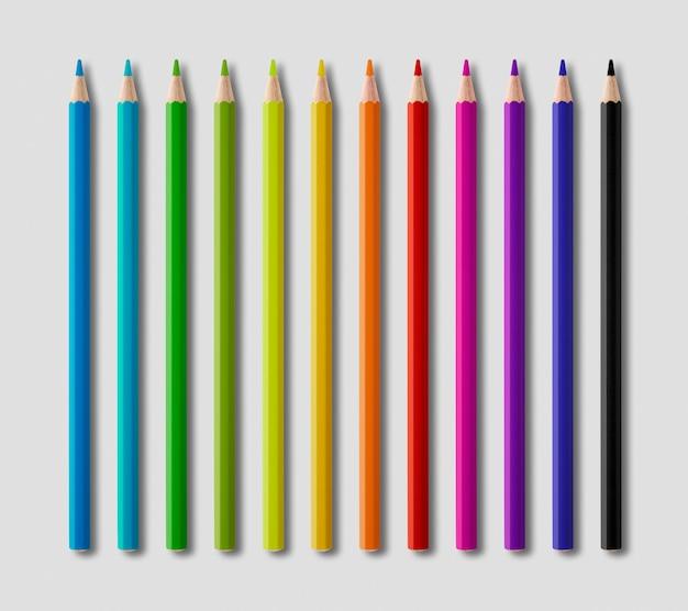 회색 표면에 색 나무 연필 컬렉션 집합