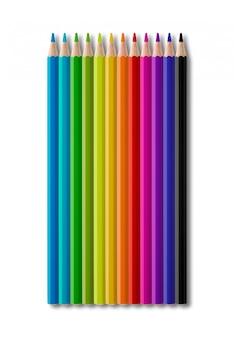 Набор цветных деревянных карандашей коллекции на белом фоне