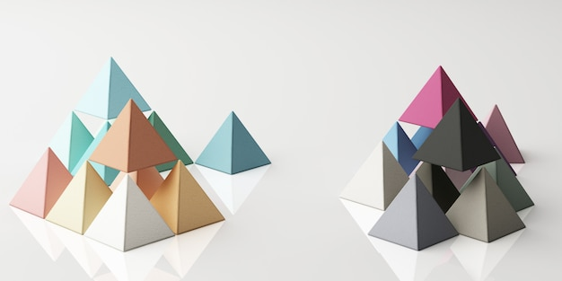 Набор красочных зеленый фиолетовый синий желтый реалистичные сферы пирамиды с текстурой ткани на белом 3d-рендеринга