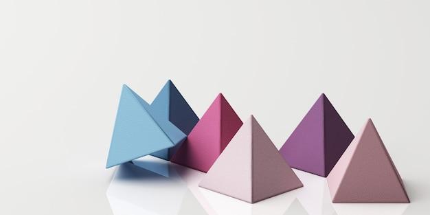 Набор красочных фиолетовых реалистичных сфер пирамиды с текстурой ткани на белом 3d-рендеринга