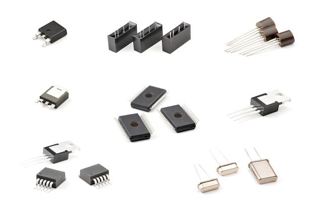 구성 요소 세트, led 표시기, 커패시터, 저항기, 다이오드
