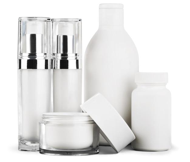 分離された白い容器の化粧品のセット Premium写真