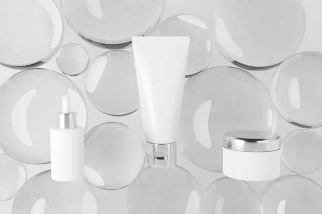 Набор косметических продуктов макет со стеклянным шаром. 3d-рендеринг дизайн.