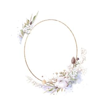 ゴールドフレームの綿の花のセットです。水彩イラスト