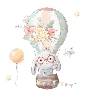 Набор милый мультяшный кролик на воздушном шаре