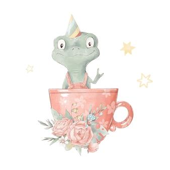 컵에 귀여운 만화 카멜리온의 집합입니다. 수채화 그림입니다.