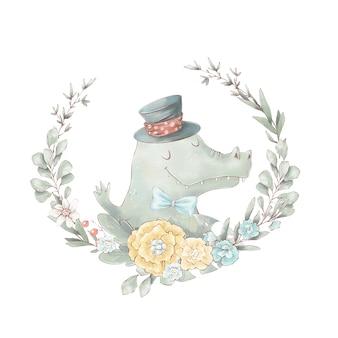 Набор милый мультяшный крокодил в воздушном шаре. акварельные иллюстрации