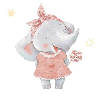 열기구에 귀여운 만화 코끼리 세트. 수채화 그림