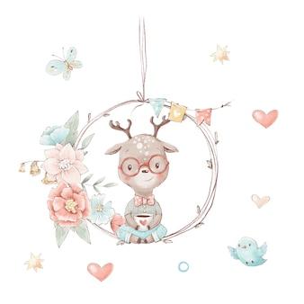 一杯のコーヒーとかわいい漫画の子鹿のセットです。鳥や蝶の花。