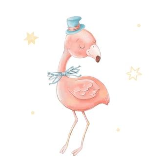모자에 귀여운 만화 플라밍고의 집합입니다. 수채화 그림