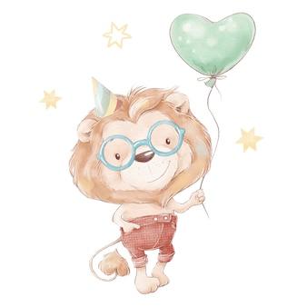 Набор милый мультяшный львенок и воздушный шар. акварельная иллюстрация.