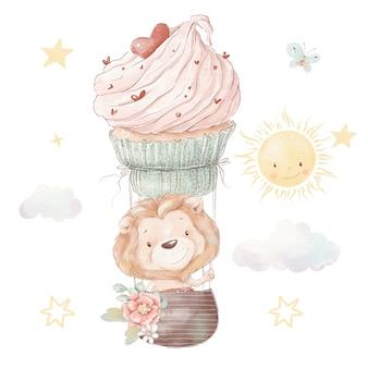 Набор милый мультяшный львенок и воздушный шар. акварельные иллюстрации