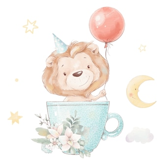 カップと風船のかわいい漫画のライオンの子のセットです。水彩イラスト