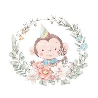 안경을 쓴 귀여운 만화 원숭이 세트. 수채화 그림